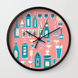 Cocktails And Drinks In Aquas and Pinks Wall Clock