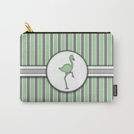 Green Flamingo Stripes Pattern Design Carry-All Pouch