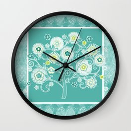 Tree of Life Floral Damask Watercolor Pattern Wall Clock