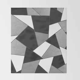 Silver Gray Black White Geometric Glam #1 #geo #decor #art #society6 Throw Blanket