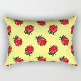 Beautiful Protea Pattern - White polka dots on yellow - Australian Native Florals Rectangular Pillow