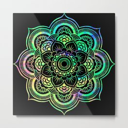 Neon Psychedelic Mandala Metal Print