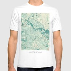 Amsterdam Map Blue Vintage LARGE Mens Fitted Tee White