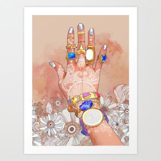 White Henna Art Print