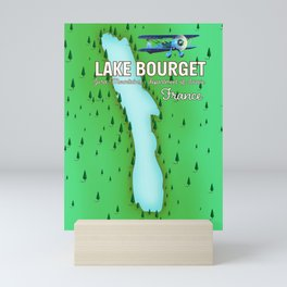 Lake Bourget Jura Mountains department of Savoie, France Map Art Print Mini Art Print