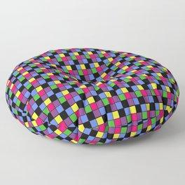 Disco Lights Blocks, Checkered Pattern - Pastel Colors Floor Pillow