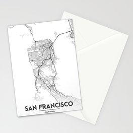 Minimal City Maps - Map Of San Francisco, California, United States Stationery Cards