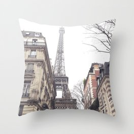 Paris streets, Eiffel tower, city skyline, industrial fine art photo, shabby chic Throw Pillow