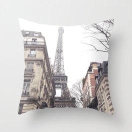 Paris streets, Eiffel tower, city skyline, industrial fine art photo, shabby chic Throw Pillow