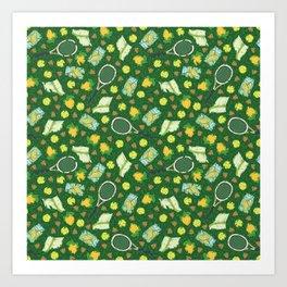 Yellow lemon and ball among tennis rackets and strawberries Art Print