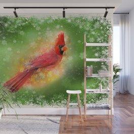 Cardinal Christmas Wall Mural