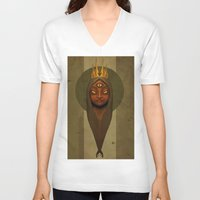 queen V-neck T-shirts featuring Queen by Everton Blake Jamaican Yardy Paradise