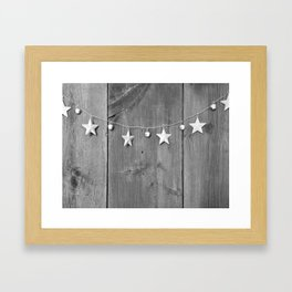 Stars on Wood (Black and White) Framed Art Print