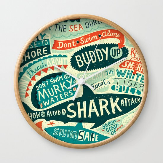 How to avoid a shark attack Wall Clock