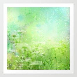 Green Watercolor Floral Art Print