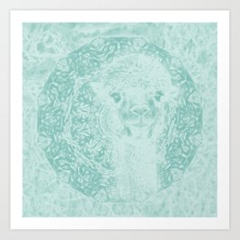 Happy Ghostly alpaca and mandala in Limpet Shell Blue Art Print