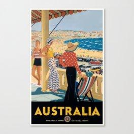 1929 Australia Bondi Beach Travel Poster Canvas Print