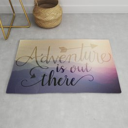 Adventure is out there! View over hills Rug