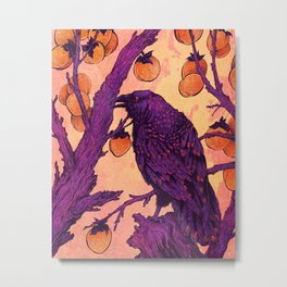 Raven and Persimmons Metal Print
