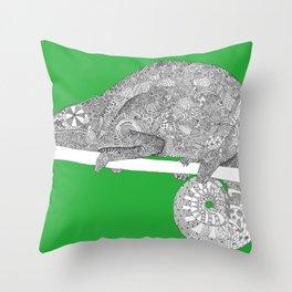 Green-Chameleon Throw Pillow