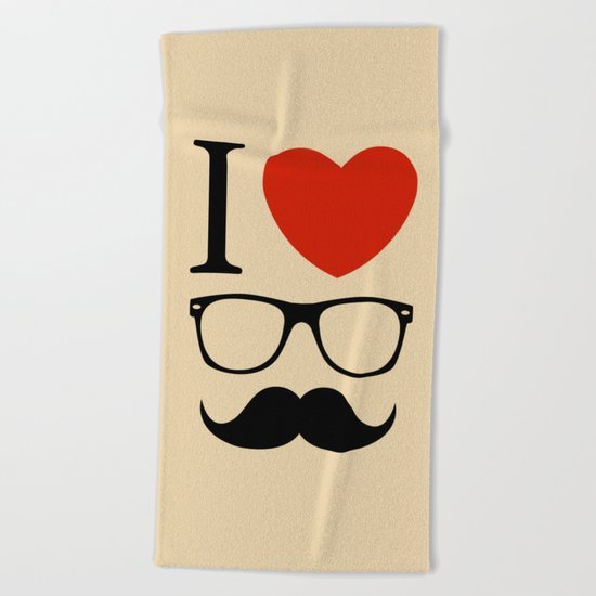 I love glasses and mustaches Beach Towel