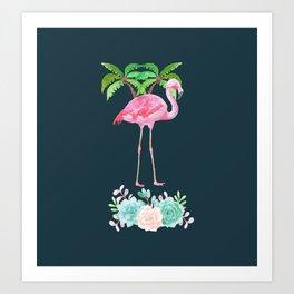 Pink Flamingo & Green Palm Tree Art Print
