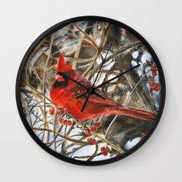 Winter Cardinal by Teresa Thompson Wall Clock