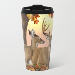 Hilltop Retreat Whitetail Deer Painting Travel Mug