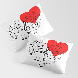 The Singing Heart. Black On White. Simple And Chic Conceptual Design Pillow Sham