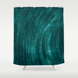 Hypnotic Abstract Dots Swirl in Green Background Shower Curtain