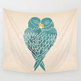 Love Birds (Blue) Wall Tapestry