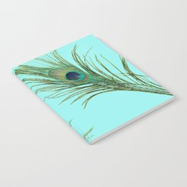 Peacock Feather on Blue Background Notebook