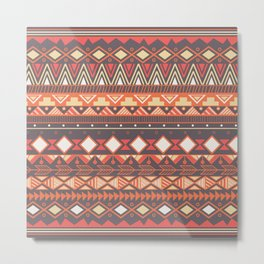 Aztec tribal pattern in stripes, vector illustration Metal Print