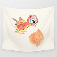 birdy Wall Tapestries featuring Birdy by la belette rose