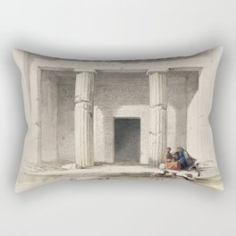 Entrance to the caves of Beni Hasan  by David Roberts (1796-1864) Rectangular Pillow