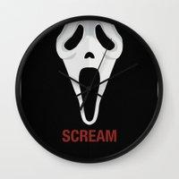 scream Wall Clocks featuring SCREAM by Alejandro de Antonio Fernández