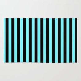 Electric Blue and Black Vertical Stripes Rug