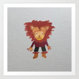 Lion Jungle Friends Baby Animal Water Color Art Print