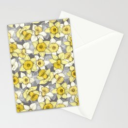 Daffodil Daze - yellow & grey daffodil illustration pattern Stationery Cards