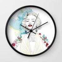 marylin monroe Wall Clocks featuring Marylin Monroe  by sarah rie