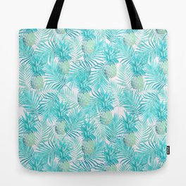 Turquoise Palm Leaves and Pineapples on Pink Tote Bag