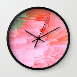 Romance Glitch - Pink & Living coral Wall Clock