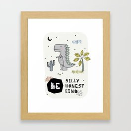 Cartoon dinosaur poster Framed Art Print