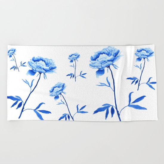 one blue peony painting Beach Towel
