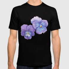 Purple Pansies Black Mens Fitted Tee MEDIUM