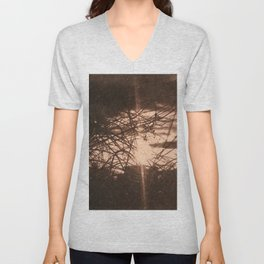 Sunset over the Mill_brown vintage style Unisex V-Neck