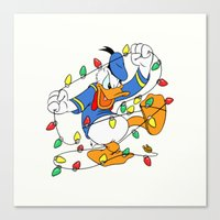 donald duck Canvas Prints featuring Funny Angry Donald Duck by Yuliya L