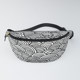 Black and white circular pattern Fanny Pack