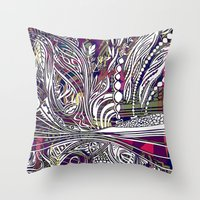 champagne Throw Pillows featuring Champagne by Dan Ellwood