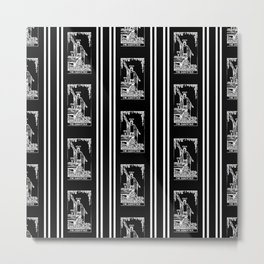 Black and White Repeating Tarot Pattern - The Magician Metal Print